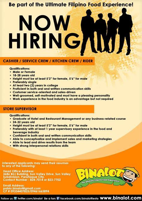 Layout Artist Hiring Cavite | binalot sm city rosario cavite is now hiring binalot