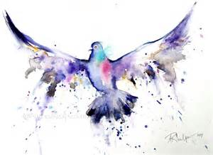 amazing watercolor flying dove tattoo design