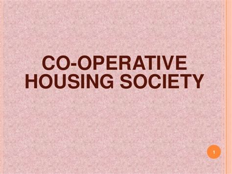 cooperative housing co operative housing society