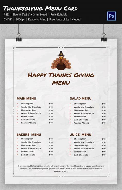 25 thanksgiving menu templates free sle exle