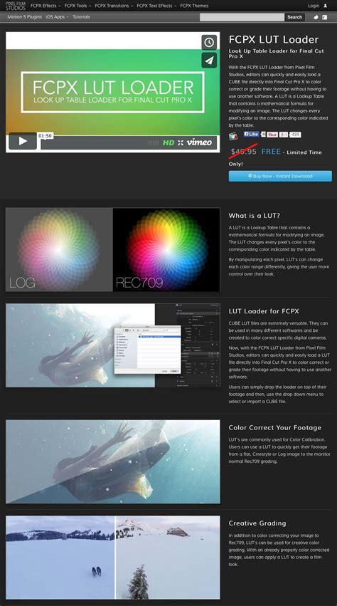 final cut pro lut pixel film studios releases a new lut loader plugin for
