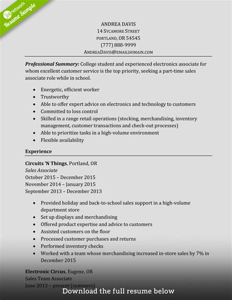 Resume Sles For Experienced How To Write A Sales Associate Resume Exles Included