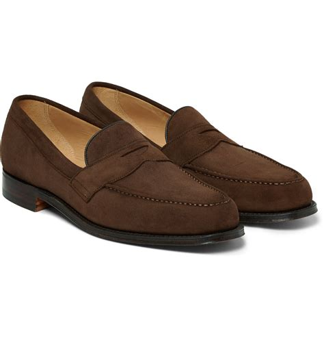 suede loafers for cheaney hudson suede loafers in brown for lyst