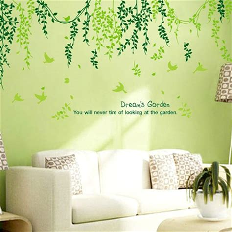 wall stickers home decor plant modern wall sticker green leaves curtain wall
