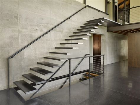 modern stairs concrete wall west seattle residence