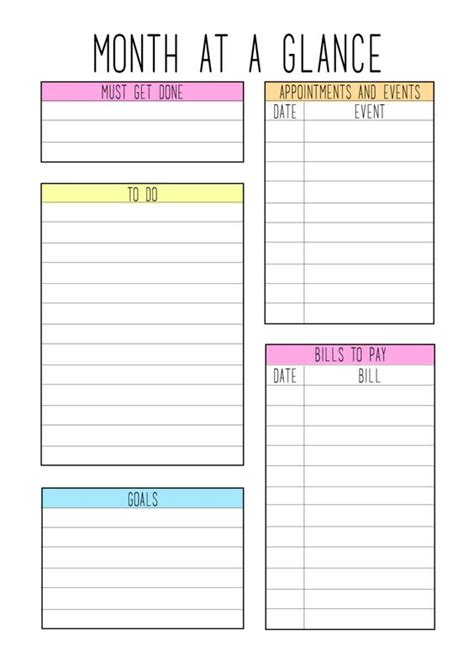 month at a glance calendar template colors a month and etsy on