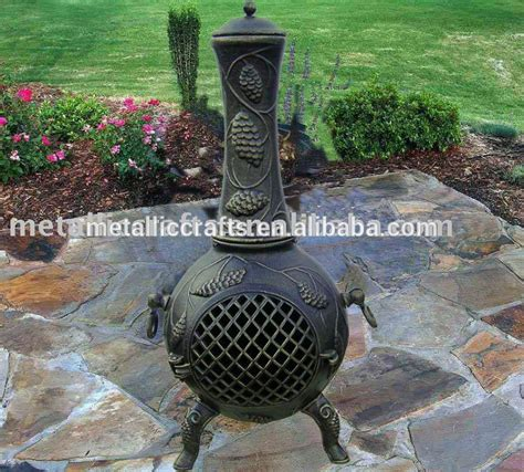 Outdoor Cast Iron Fireplace by Pine Cone Cast Aluminum Chimeneas Outdoor Fireplace Cast