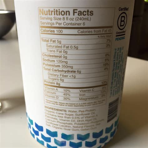 p protein milk backlabel