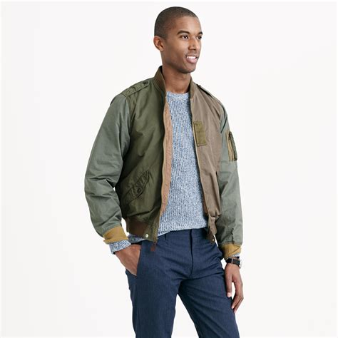 j crew wallace amp barnes pieced a 2 bomber jacket in green