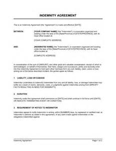 indemnification clause template indemnity agreement template sle form biztree