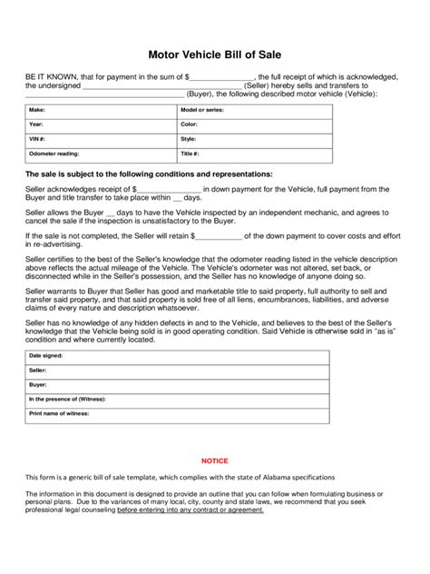 Bill Of Sale Form 183 Free Templates In Pdf Word Excel Download Florida Motor Vehicle Bill Of Sale Template