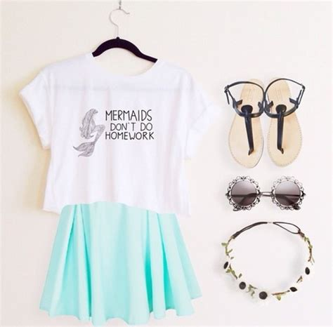 Blouse Mermaid White blouse shirt mermaid skirt sunglasses mermaid top