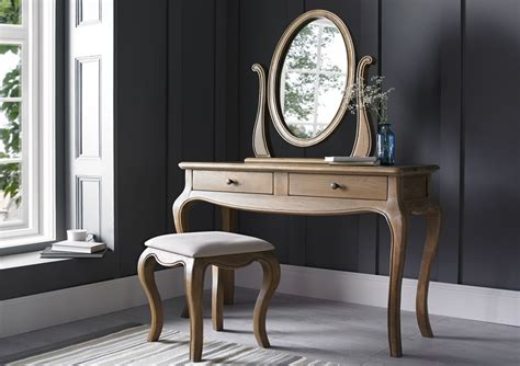 oak vanity table with mirror and bench loire weathered oak dressing table mirror dressing