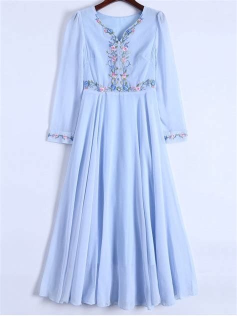 43751 Lightblue Flower Embriodery S M L floral embroidered sleeve chiffon dress light blue chiffon dresses s zaful