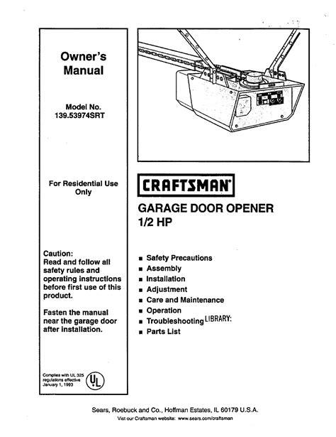 craftsman garage door opener manual