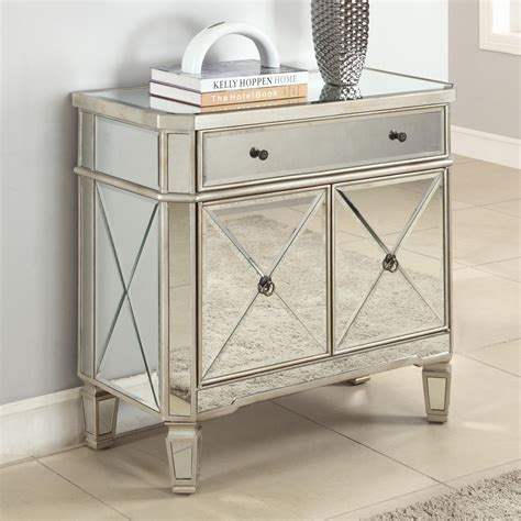 Mirrored Furniture Bedroom Set Small And Narrow Mirrored Console Table With Door