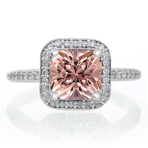 1 5 carat princess cut morganite classic halo engagement