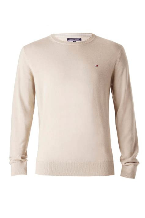 Hilfiger Crewneck hilfiger pacific crew neck jumper in beige for lyst