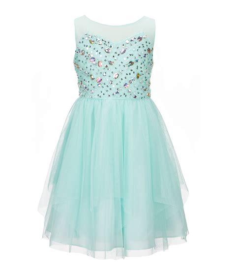 Ohome Pajangan 3d Poly Dress In Blue Decor Ev Sp 3914 B tween 4 6x beaded mesh fit and flare dress dillards