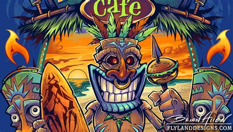 tiki cafe t shirt designs hire an illustrator