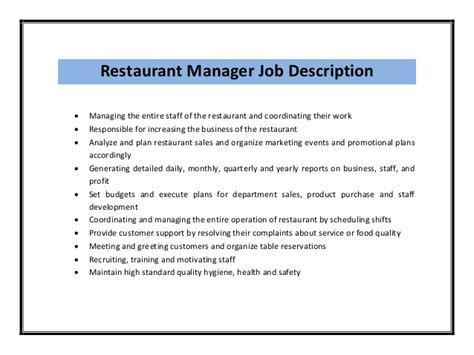 Resume Restaurant Manager Description Restaurant Manager Resume Sle Pdf
