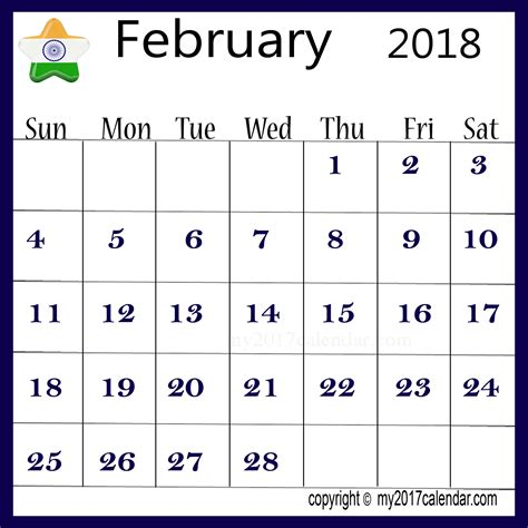 India Calendã 2018 India 2018 February Printable Calendar Printable Monthly
