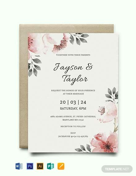 vintage wedding invitation template word psd indesign apple pages publisher