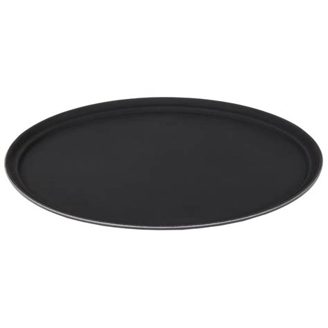 oval 27 quot black non skid serving tray