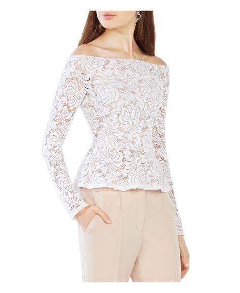 Blouse Alea Top lyst bcbgmaxazria alea the shoulder lace top in white
