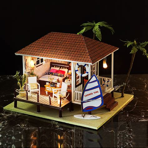 beach doll house large size diy wooden miniature doll house beach hut with furniture led light