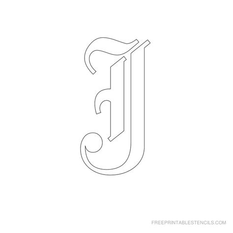 printable letter j stencil printable old english alphabet stencil j crafts