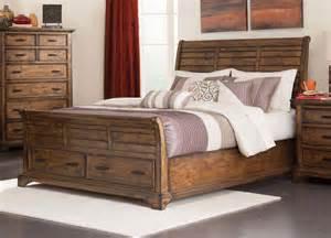 Platform Bed With Foot Storage Rustic Slatted Planks King Foot Board Storage Bed Bedroom