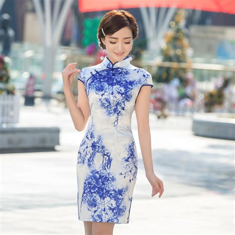 aliexpress china vintage blue and white porcelain printed silk chinese