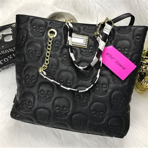 20348 Black Gold Skull Handbag 68 betsey johnson handbags betsey johnson black skull gold chain shoulder bag from