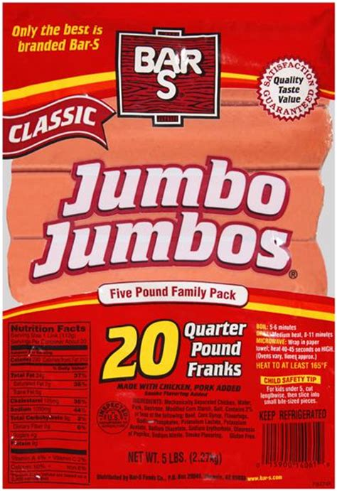 Best Jumbo 20 Lbs Import bar s jumbo jumbos classic quarter pound franks 20ct hy vee aisles grocery shopping