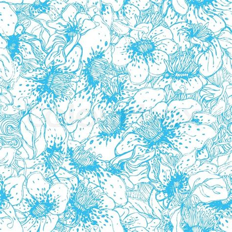 floral pattern in blue seamless blue floral vector pattern stock vector colourbox