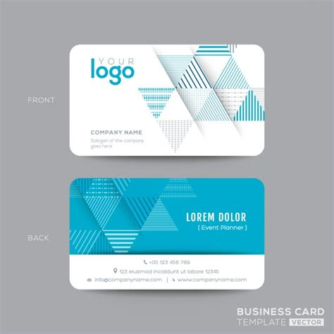 Free Name Card Template Ai by Business Card With Blue Triangles Vector Free