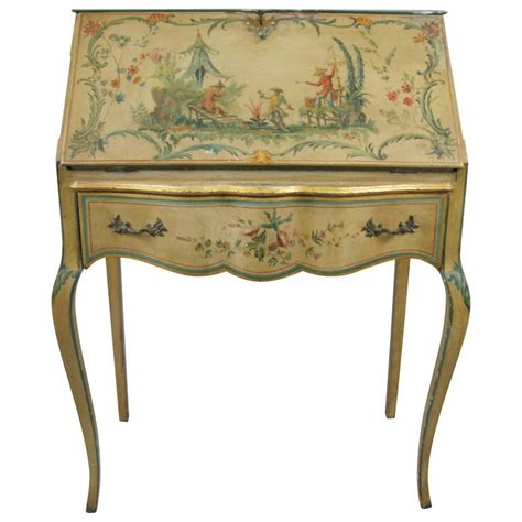 Artist Desk L by Artist Signed Painted Chinoiserie Desk From
