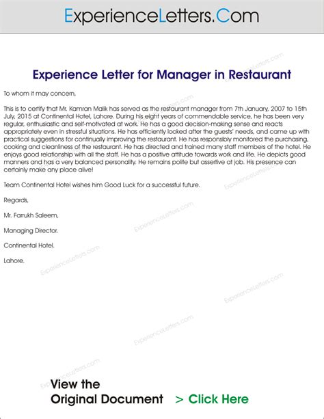 Experience Letter As A Cook Experience Letters And Certificates Sle Experience Letter Formats For Experienced Professionals
