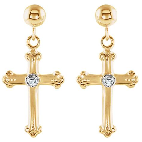 Yellow Gold Cross Earrings 14kt yellow gold budded cross dangle earrings