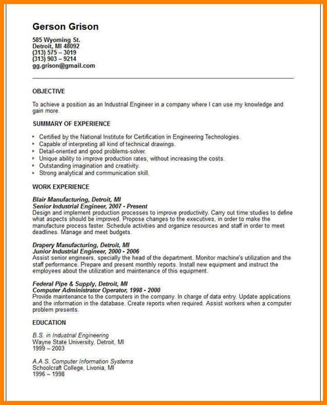Technical Resume Objective Exles 12 technical resume objective exles g unitrecors