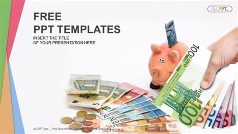 Piggy Bank With Money Finance Powerpoint Templates Free Financial Powerpoint Templates