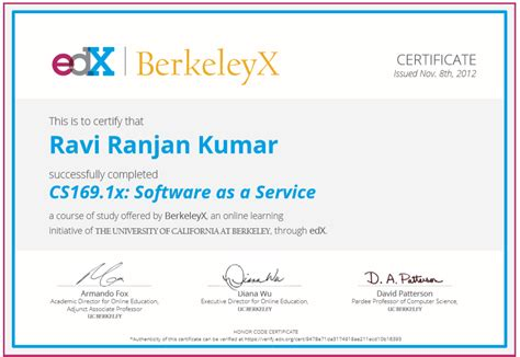 how to my as a service got my edx certificate in software as a service ravi s