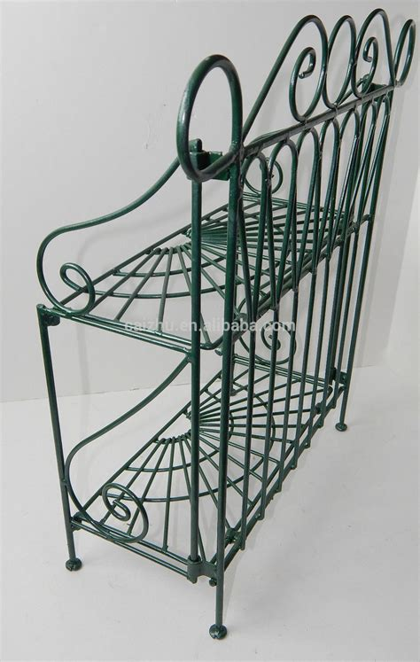 Folding Bakers Rack by 2 Tiers Folding Metal Wire Bakers Kitchen Rack Shelf Green
