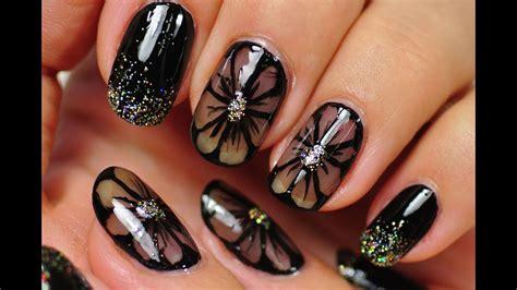black toenail designs nail black nail design black flowers
