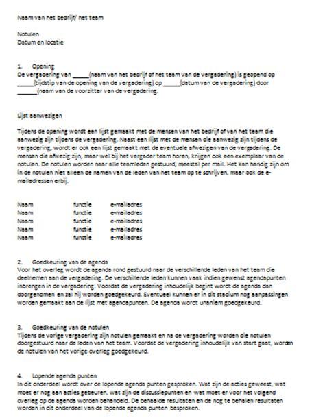 Contoh Notule Rapat by Voorbeeld Notulen