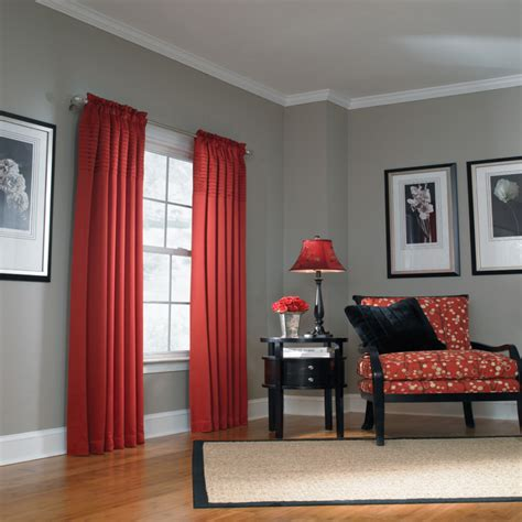 what color curtains go with gray walls shop allen roth lincolnshire 95 in l solid red rod