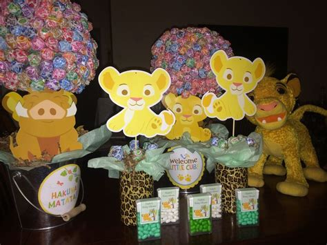Center Pieces And Party Favors Lion King Center Pieces King Baby Shower Centerpieces