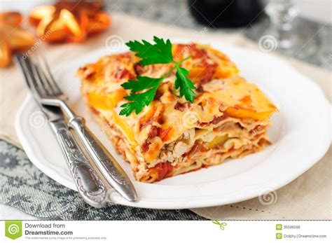 what to make with lasagna for dinner chicken and pumpkin lasagna dinner stock image