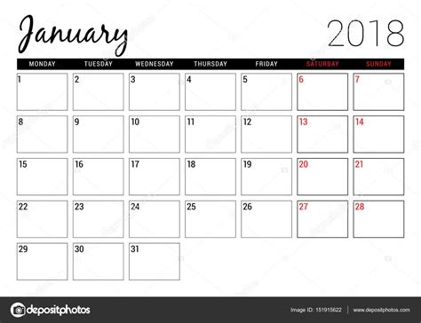 printable january stationery january 2018 printable calendar planner design template